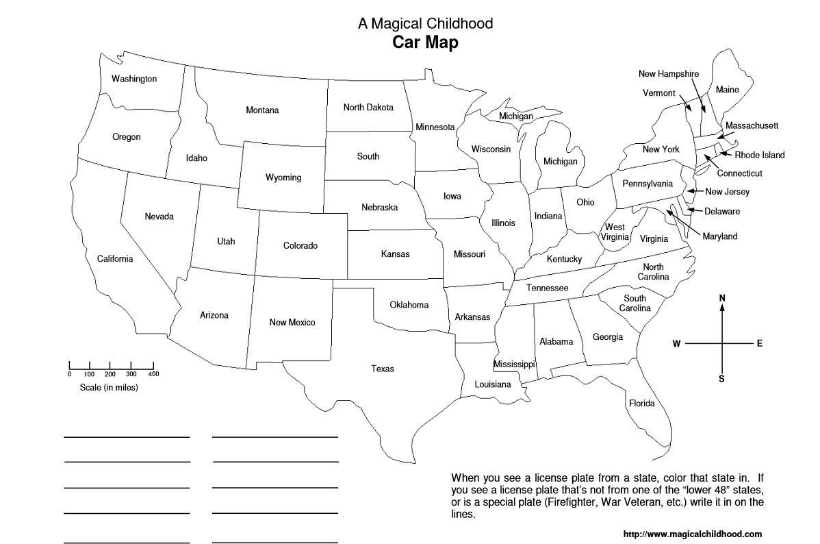 Use printable car maps to help kids learn their states on road trips
