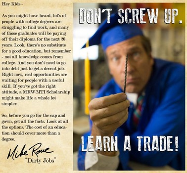 """Dirty Jobs"" host Mike Rowe unveils anti-college scholarship program"