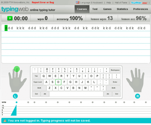 TypingWeb offers free trackable typing program for homeschoolers