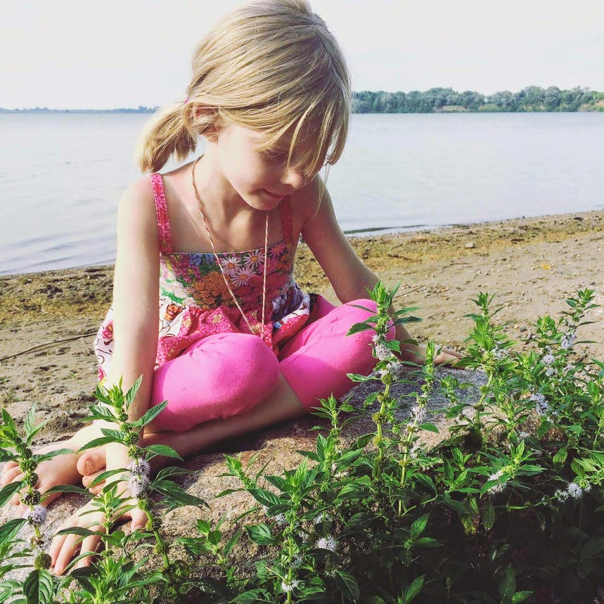 foraging mint with kids