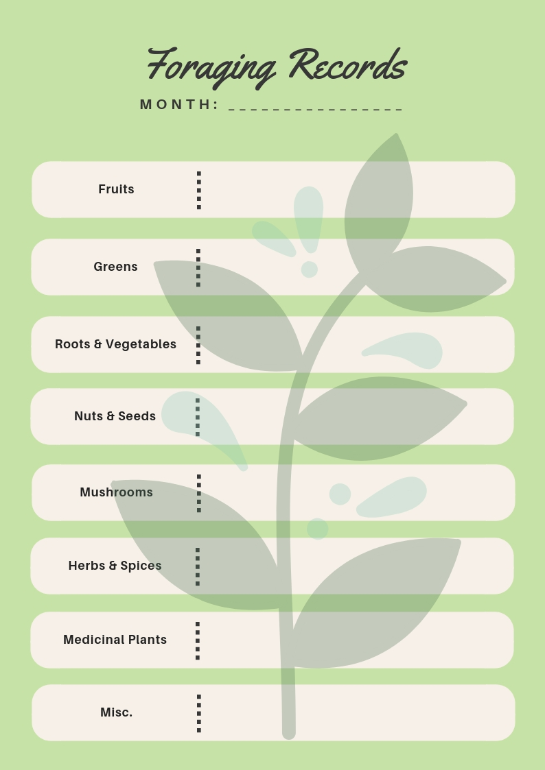 FREE printable foraging record keeping sheets!